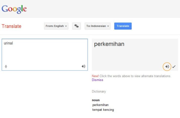 Google Translate (English-Bahasa Indonesia) - Perhatikan lingkaran jingga