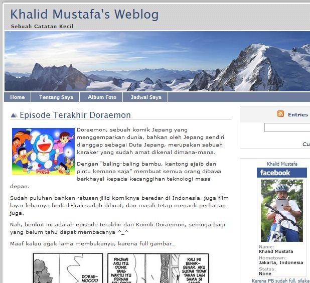 Khalid Mustafa Menyukai Doraemon Juga
