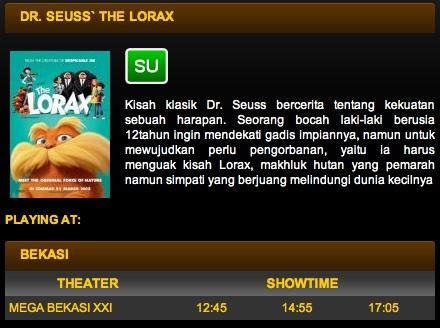 Bioskop yang memutar Dr. Seuss' The Lorax di Bekasi