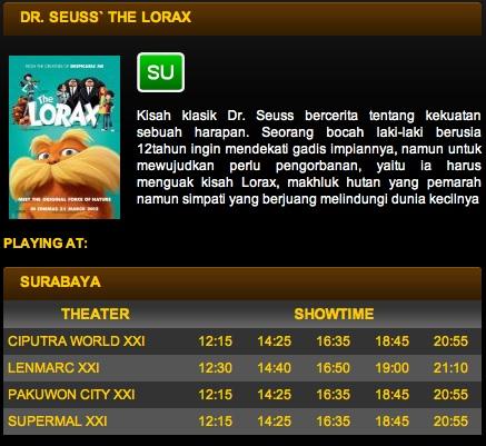 Bioskop yang memutar Dr. Seuss' The Lorax di Surabaya