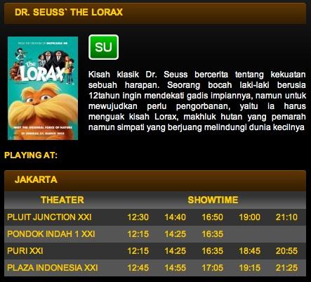 Bioskop yang memutar Dr. Seuss' The Lorax di Jakarta