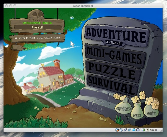 Plants vs Zombies di Windows 8 di VirtualBox di MacOSX